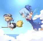 blonde_hair blue_eyes blue_hair broom broom_riding cirno cloud clouds eye_contact flying hat kirisame_marisa mamo multiple_girls ocean outstretched_arms ribbon ribbons scarf short_hair sky spread_arms touhou wings witch yellow_eyes