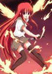 fiery_wings fire long_hair red_eyes red_hair redhead school_uniform shakugan_no_shana shana sword thigh-highs thighhighs weapon wings yuurakudou_kurono zettai_ryouiki