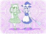1024x768 bow broom bunny_(trickster) cat_(trickster) cosplay detached_sleeves dress gohei grin hair_bow hakurei_reimu hakurei_reimu_(cosplay) hat japanese_clothes kirisame_marisa kirisame_marisa_(cosplay) miko miya_na multiple_girls open_mouth smile standing touhou trickster wallpaper witch_hat