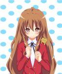 bad_id brown_eyes brown_hair long_hair palmtop_tiger school_uniform tiger toradora! yuurakudou_kurono