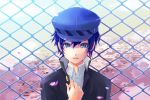 androgynous blue_eyes blue_hair bust chainlink_fence gin_(oyoyo) hat persona persona_4 petals reverse_trap shirogane_naoto short_hair solo tears