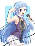 bangs blue_hair blunt_bangs hair_tubes hairband kannagi long_hair microphone nagi purple_eyes skirt violet_eyes yuurakudou_kurono