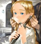 adjusting_hair blonde_hair blue_eyes child crown dagger door elf face forehead hair_ornament hands head_out_of_frame holding knife long_hair original pointy_ears portrait shadow water weapon