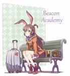 1girl animal_ears bench brown_eyes brown_hair bunny_girl commentary iesupa jacket little_witch_academia long_hair luggage rabbit_ears rwby short_ponytail solo thighs velvet_scarlatina