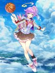 1girl :d bare_legs basketball black_legwear blazer blue_eyes breasts brown_skirt byulzzimon clouds full_body hair_flaps halo hood hood_down hoodie jacket long_hair long_sleeves looking_at_viewer luka_(shironeko_project) medium_breasts mini_wings miniskirt mismatched_legwear open_mouth outstretched_arm pleated_skirt ponytail purple_hair shironeko_project shoes skirt sky smile sneakers socks solo star striped striped_legwear sweatband undershirt white_footwear wing_collar