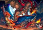 blue_eyes charizard claws crossover dragon fire flying full_moon horns looking_at_another looking_back mega_charizard_y mega_pokemon monster_hunter moon night night_sky no_humans open_mouth pokemon pokemon_(creature) rathalos sa-dui scales sharp_teeth sky spikes star_(sky) starry_sky tail teeth trait_connection twilight wings