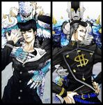 2boys aqua_eyes belt black_eyes black_hair black_nails brooch collarbone crazy_diamond dollar_sign earrings facial_mark gakuran grey_hair grin hands_on_hips heart higashikata_jousuke highres hikitsu_juusou jewelry jojo_no_kimyou_na_bouken male_focus multicolored_hair multiple_boys nail_polish nijimura_okuyasu peace_symbol pillarboxed pompadour profile ring school_uniform shiny signature smile spikes stand_(jojo) stud_earrings the_hand_(stand) two-tone_hair upper_body yen_sign