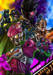 4boys action_gamer_level_2 bang_bang_shooting_level_2 gashacon_magnum gashacon_sword highres kamen_rider kamen_rider_brave kamen_rider_ex-aid kamen_rider_ex-aid_(series) kamen_rider_genm kamen_rider_snipe mighty_action_x_level_2 multiple_boys quest_gamer_level_2 shooter_gamer_level_2 sword taddle_quest_level_2 weapon yusuki_(fukumen)