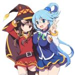 2girls aqua_(konosuba) bare_shoulders black_hair black_legwear blue_eyes blue_hair blush cape detached_sleeves fingerless_gloves gloves hair_ornament hair_rings hat kono_subarashii_sekai_ni_shukufuku_wo! long_hair megumin multiple_girls odawara_hakone open_mouth red_eyes short_hair skirt smile thigh-highs very_long_hair witch_hat