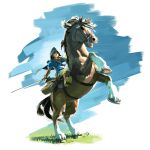 1boy absurdres artist_request bag behind_back black_eyes blonde_hair blue_background blue_cape boots brown_boots cape cloak closed_mouth epona faux_figurine grass green_eyes highres holding holding_sword holding_weapon hood hooded_cloak horse horseback_riding knee_boots link looking_at_viewer male_focus official_art open_mouth pants plant riding saddle sheath simple_background sitting sitting_on_animal straddling sword the_legend_of_zelda the_legend_of_zelda:_breath_of_the_wild unsheathed upright_straddle weapon white_pants