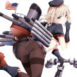 1girl american_flag ass blonde_hair boots bra breasts eyebrows_visible_through_hair gloves grey_boots grey_bra grey_eyes grey_gloves grey_hat grey_shirt ground_vehicle hat hazuki_gyokuto looking_at_viewer looking_back mahan_(zhan_jian_shao_nyu) medium_breasts midriff miniskirt motor_vehicle panties panties_over_pantyhose pantyhose pleated_skirt rigging rudder_shoes scooter shirt short_hair short_sleeves simple_background skirt smokestack solo thighband_pantyhose torpedo underwear upskirt white_background white_panties zhan_jian_shao_nyu