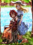 2girls barefoot blanket blonde_hair blush dappled_sunlight dog grass hat highres izetta_(shuumatsu_no_izetta) lake long_hair looking_at_viewer multiple_girls ortfine_fredericka_von_eylstadt shuumatsu_no_izetta smile sunlight water welsh_corgi wheelchair
