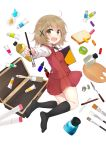 1girl :d black_legwear blush bolo_tie bottle bread brown_eyes brown_hair case colis_(regunm772) collared_shirt eyebrows_visible_through_hair food from_side full_body hair_between_eyes hair_ornament hidamari_sketch highres holding_paintbrush inkwell kneehighs legs_up long_sleeves looking_at_viewer no_shoes open_mouth outstretched_arm paint paintbrush palette pastel pen pencil pleated_skirt red_skirt red_vest school_uniform shirt sketchbook skirt smile solo vest white_shirt wing_collar x_hair_ornament yuno