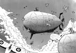 aerial_battle aircraft airplane battle clouds comic commentary dirigible dogfight explosion greyscale mecha_to_identify monochrome original setz sky turret world_war_i zeppelin