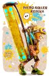 1boy black_shorts bobblehat dated english from_side full_body goggles goggles_on_head green_shoes harutarou_(orion_3boshi) hat hero_roller_(splatoon) holding holding_weapon hood hoodie jacket long_sleeves male_focus musical_note orange_hat orange_jacket paint_splatter quaver shoes shorts ski_goggles sneakers splatoon spoken_musical_note standing weapon