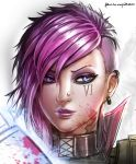 1girl artist_name badcompzero blue_eyes earrings face jewelry league_of_legends pink_hair short_hair signature solo vi_(league_of_legends)