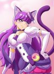 1girl animal_ears blush cat_ears cat_tail choker cure_macaron earrings elbow_gloves extra_ears food_themed_hair_ornament fuchi_(nightmare) gloves hair_ornament hand_on_hip jewelry kirakira_precure_a_la_mode kotozume_yukari layered_skirt long_hair looking_at_viewer magical_girl pink_background precure purple purple_hair purple_skirt ribbon skirt smile solo tail violet_eyes white_gloves