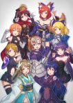 6+girls :d alternate_costume animal_ears armor armored_dress assassin_of_black assassin_of_black_(cosplay) ayase_eli bandage black_panties bodysuit cape chains choker claw_pose cosplay demon_archer demon_archer_(cosplay) detached_sleeves dress elbow_gloves everyone fate/apocrypha fate/extra fate/grand_order fate/stay_night fate_(series) faulds fingerless_gloves fox_ears fox_tail gauntlets gloves group_picture hair_ornament hair_ribbon hand_on_hip hat headpiece highres hoshizora_rin kelinch1 kiyohime_(fate/grand_order) kiyohime_(fate/grand_order)_(cosplay) koha-ace koizumi_hanayo kousaka_honoka looking_at_viewer love_live! love_live!_school_idol_project minami_kotori multiple_girls navel nishikino_maki open_mouth panties pauldrons paw_pose pelvic_curtain pointing pointing_up purple_bodysuit red_cape ribbon rider rider_(cosplay) ruler_(fate/apocrypha) ruler_(fate/apocrypha)_(cosplay) saber saber_(cosplay) sash scathach_(fate/grand_order) scathach_(fate/grand_order)_(cosplay) shielder_(fate/grand_order) shielder_(fate/grand_order)_(cosplay) smile sonoda_umi tail tamamo_(fate)_(all) tamamo_no_mae_(fate) tamamo_no_mae_(fate)_(cosplay) thigh-highs toujou_nozomi underwear white_background yazawa_nico