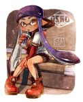 1girl arm_support backwards_hat bangs baseball_cap baseball_jersey bike_shorts black_shorts blue_hair blunt_bangs brown_eyes cup dated domino_mask drinking full_body harutarou_(orion_3boshi) hat inkling inkling_(language) logo long_hair looking_at_viewer mask pointy_ears red_shoes shoes short_over_long_sleeves shorts single_vertical_stripe sitting solo splatoon straw tentacle_hair