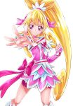 1girl aida_mana arm_warmers asymmetrical_clothes bike_shorts blonde_hair boots cure_heart curly_hair detached_sleeves dokidoki!_precure dress earrings eyelashes hair_ornament half_updo happy heart heart_earrings heart_hair_ornament highres jewelry knee_boots kneehighs long_hair looking_at_viewer magical_girl pink pink_dress pink_eyes pink_ribbon pink_shorts ponytail pose precure ribbon sharumon shorts shorts_under_dress simple_background smile solo standing white_background