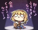 1girl alice_margatroid blonde_hair blouse blue_skirt blush capelet chibi commentary_request frills guitar hairband instrument long_sleeves music musical_note nekoguruma o_o open_mouth scarf short_hair singing sitting skirt solo spotlight touhou translation_request
