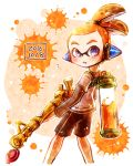 1boy bamboozler_14_(splatoon) black_shorts blue_eyes dated domino_mask from_side hair_slicked_back harutarou_(orion_3boshi) headgear holding holding_weapon ink_tank_(splatoon) inkling looking_at_viewer male_focus mask orange_hair paint_splatter parted_lips pointy_ears scrunchie short_hair short_over_long_sleeves shorts single_vertical_stripe solo splatoon standing tentacle_hair topknot weapon