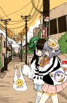 2girls bag bandage brown_hair crisalys doraemon food godzilla_(series) grocery_bag highres jacket light_blue_hair mask mothra multiple_girls road shopping_bag shorts skirt smile snack street sweater takoyaki telephone_pole tote_bag ultraman_(1st_series) walking