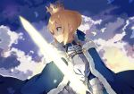 1girl ahoge armor armored_dress blonde_hair clouds cloudy_sky coat crown dress excalibur fate/grand_order fate/stay_night fate_(series) fighting_stance fur-trimmed_coat fur_trim gauntlets glint glowing glowing_sword glowing_weapon green_eyes hatsuko holding holding_sword holding_weapon looking_afar saber sky solo sparkle sword weapon