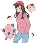 1girl animal_print bangs baseball_cap blue_pants blush blush_stickers brown_eyes brown_hair bunny_print clefairy cleffa closed_mouth cowboy_shot crossover d.va_(overwatch) drawstring facepaint facial_mark hands_in_pockets hat highres hood hood_down hoodie jigglypuff legs_apart long_hair long_sleeves overwatch pants pink_hat poke_ball pokemon pokemon_(creature) smile solo swept_bangs whisker_markings