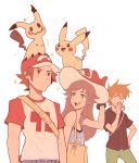 1girl 2boys :d baseball_cap blue_(pokemon) brown_eyes brown_hair closed_mouth drinking grey_eyes hand_on_hip hat highres jitome mimikyu multiple_boys older ookido_green ookido_green_(sm) open_mouth pikachu pokemon pokemon_(creature) pokemon_(game) pokemon_sm raglan_sleeves red_(pokemon) red_(pokemon)_(sm) sally_(luna-arts) simple_background smile sparkle spiky_hair sun_hat white_background