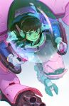 1girl :d arm_cannon artist_name bangs blue_bodysuit bodysuit bracer brown_eyes brown_hair chiou! cockpit d.va_(overwatch) facepaint facial_mark from_above gatling_gun gloves grin gun headphones holding long_hair long_sleeves looking_away mecha meka_(overwatch) open_mouth overwatch pauldrons pilot pilot_suit piloting shoulder_pads skin_tight smile solo teeth weapon whisker_markings white_gloves