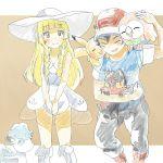 1boy 1girl alolan_vulpix highres lillie_(pokemon) litten pikachu pokemon pokemon_(anime) pokemon_(creature) pokemon_(game) pokemon_sm pokemon_sm_(anime) rowlet satoshi_(pokemon)