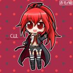 1girl belt boots cape cul highres long_hair looking_at_viewer navel open_mouth red_eyes redhead short_shorts solo stockings striped_legwear tagme thigh_highs vocaloid