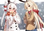 2girls alternate_costume amatsukaze_(kantai_collection) blonde_hair blush brown_jacket checkered_scarf coat earmuffs eating food from_behind grey_eyes hair_between_eyes hair_tubes hairband kantai_collection long_hair looking_at_viewer mittens multiple_girls orange_eyes red_scarf scarf shimakaze_(kantai_collection) silver_hair smoke smokestack snowing taiyaki takanashie two_side_up upper_body wagashi white_coat winter_clothes winter_coat