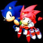 1boy 1girl amy_rose couple heart official_art sonic sonic_cd sonic_the_hedgehog