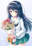 1girl akashio_(loli_ace) bangs black_hair black_neckerchief blouse blue_background blush bouquet closed_mouth collarbone commentary_request cowboy_shot cross eyebrows_visible_through_hair flower flower_request girls_und_panzer gradient gradient_background green_skirt hair_between_eyes hairband highres holding holding_bouquet long_hair long_sleeves looking_at_viewer miniskirt neckerchief ooarai_school_uniform peony_(flower) pink_flower pleated_skirt purple_flower red_flower reizei_mako ribbon school_uniform serafuku shiny shiny_hair skirt smile solo standing white_blouse white_hairband yellow_eyes yellow_flower yellow_ribbon