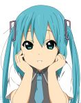 1girl bangs beni_oboro blue_eyes blue_necktie collared_shirt cosplay eyebrows hair_between_eyes hands_on_own_cheeks hands_on_own_face hatsune_miku k-on! long_hair looking_at_viewer nakano_azusa necktie shirt short_sleeves smile solo twintails vest vocaloid white_shirt