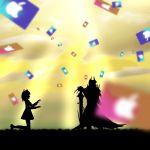 1boy 1girl ahoge apple_inc. artist_request blurry clouds cloudy_sky falling_card fate/grand_order fate_(series) fujimaru_ritsuka_(female) gift_card highres king_hassan_(fate/grand_order) kneeling light_rays parody silhouette sky sunbeam sunlight yellow_sky