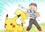 1girl absurdres blonde_hair cosplay highres lillie_(pokemon) nanakusa_(user_rnpt7322) pikachu pokemon pokemon_(creature) satoshi_(pokemon) satoshi_(pokemon)_(cosplay) shirt striped striped_shirt z-ring