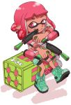 1girl absurdres bike_shorts dark_skin domino_mask dual_wielding high_tops highres inkling looking_at_viewer mask pink_eyes pink_hair shirt shoes short_hair simple_background sitting smile sneakers splatoon splatoon_2 striped striped_shirt t-shirt tentacle_hair tongue tongue_out weapon white_background yoshizawa_miyabi