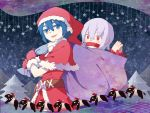 2girls blue_eyes blue_hair bound doremy_sweet dress fang hat highres kidnapping kishin_sagume ko_kita multiple_girls pointy_ears red_eyes sack santa_costume santa_hat short_hair silver_hair star tail tapir tapir_tail tied_up touhou