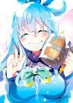 1girl ^_^ alcohol aloe_(kenkou3733) aqua_(konosuba) beer blue_hair blush breasts clenched_teeth closed_eyes hair_rings highres kono_subarashii_sekai_ni_shukufuku_wo! long_hair smile solo teeth upper_body v