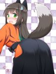 /\/\/\ 1girl animal_ears ass bending_forward bent_over black_hair blush checkered checkered_background commentary ear_blush fake_animal_ears from_behind green_eyes hakama half_updo japanese_clothes long_hair looking_at_viewer looking_back nose_blush open_mouth shiny shiny_hair solo sweatdrop tail tail_wagging tatsumi_kon tearing_up urara_meirochou wavy_mouth weshika