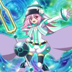 1girl cape duel_monster hat maiko_(mimi) open_mouth pantyhose pink_eyes pink_hair smile solo tuning_fork tuning_magician yu-gi-oh! yuu-gi-ou_arc-v