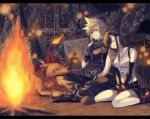 1boy 1girl animal black_hair black_skirt blonde_hair bonfire boots closed_eyes cloud_strife copyright_name final_fantasy final_fantasy_vii fingerless_gloves fire gloves green_eyes humiyooo ladder legs_crossed long_hair miniskirt red_gloves red_shoes red_xiii scar shoes sitting skirt sleeping smile spiky_hair tifa_lockhart v_arms wariza