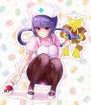 1girl akira_(natsumemo) alakazam apron bangs black_legwear blunt_bangs blush breasts cosplay crotch_seam gym_leader hat holding holding_tray joy_(pokemon) joy_(pokemon)_(cosplay) legs natsume_(pokemon) nurse nurse_cap panties panty_peek pantyhose pantyshot pantyshot_(squatting) picking_up pink_shirt poke_ball pokemon pokemon_(game) purple_hair red_eyes shirt short_sleeves slippers squatting sweatdrop thigh-highs thighband_pantyhose thighs tray twintails underwear