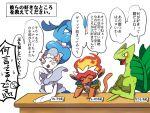 ban_(3551702) blue_hair blush infernape no_humans pokemon pokemon_(creature) pokemon_(game) pokemon_dppt pokemon_oras pokemon_rse pokemon_sm primarina sceptile translation_request