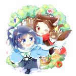 ! 2boys anger_vein animal_ears basket big_bad_wolf big_bad_wolf_(cosplay) black_hair blue_eyes bottle bread brown_hair cake candy chibi chizuko_(4144768) cosplay fang food gloves hair_ornament hairclip hakama haori heart japanese_clothes kashuu_kiyomitsu little_red_riding_hood male_focus mole mole_under_eye mole_under_mouth multiple_boys one_eye_closed open_mouth paw_gloves petals ponytail red_eyes running sandals scarf shinsengumi smile spoken_exclamation_mark spoken_heart star tabi tail tears touken_ranbu touken_ranbu:_hanamaru tree wolf_ears wolf_paws wolf_tail yamato-no-kami_yasusada