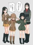 4girls arms_behind_back asymmetrical_bangs bangs black_boots black_hair black_skirt blonde_hair blue_eyes boots braid breasts brown_boots brown_eyes brown_hair brown_jacket closed_eyes comic commentary_request cosplay costume_switch drooling fukuda_(girls_und_panzer) fukuda_(girls_und_panzer)_(cosplay) full_body girls_und_panzer glasses green_background green_jacket grey_background gufu6 hair_between_eyes hands_up hat helmet jacket katyusha katyusha_(cosplay) long_hair long_sleeves looking_at_another medium_breasts military military_hat military_uniform miniskirt multiple_girls new_year nishi_kinuyo nonna open_mouth pleated_skirt red_shirt shirt short_hair short_jumpsuit shorts simple_background skirt sleeves_past_wrists standing star swept_bangs tearing_up tears translation_request turtleneck twin_braids twintails uniform vest white_shirt yellow_skirt