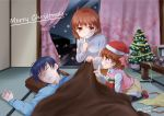 00s 1boy 2016 2girls antenna_hair blue_hair box brown_eyes brown_hair casual child christmas christmas_tree clannad closed_eyes confetti curtains dated family finger_to_mouth from_side furukawa_nagisa gift gift_box half_updo hat merry_christmas misaki_juri multiple_girls okazaki_tomoya okazaki_ushio pantyhose pillow profile santa_hat short_hair signature sleeping snow streamers sweater_vest table tatami twitter_username